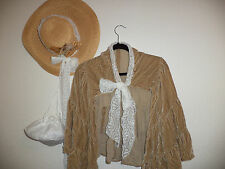 Victorian Dicken Edwardian stage theater costume hat/tan velvet CAPE/purse