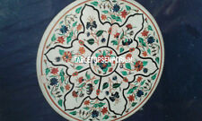 "30"" White Marble Top Coffee Side Table Malachite Floral Inlay Arts Hallway Decor"