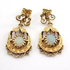 Vintage Antique 14K Yellow Gold Natural Opal Dangle Earrings