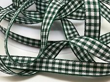 5M GREEN CHRISTMAS GINGHAM RIBBON, 10mm DECORATIONS, WREATHS, SEWING