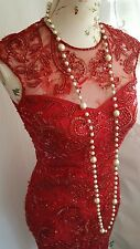 Vtg 1920,s style Downton Gatsby red sequined beaded wedding flapper dress sze 6