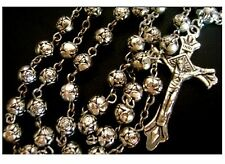 Tibet Silver Rose Flower beads Medal Rosary Crucifix Cross NECKLACE