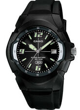 Casio MW600F-1A Men's Black Resin Band Black Dial 100M Analog HD Series Watch