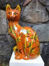 "Large 24"" VINTAGE Italian POTTERY Cat Sculpture FRATELLI FANCIULACCI Italy 1960s"