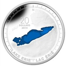 2014 $20 Fine Silver Coin 1 oz The Great Lakes: Lake Erie '14 Canadian Mint A1