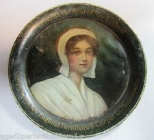 Antique New England Furniture & Carpet Co Advertising Tip Tray Priscilla Maid of