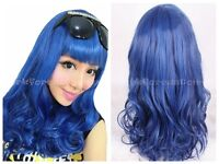 Long Curly Wavy Wigs Women Costume Party Wig Cosplay Fancy Dress Wig Blue+Cap
