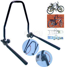 WALL MOUNTED FOLDING STEEL 3 BIKE BICYCLE STORAGE RACK SHED GARAGE SURF BOARD