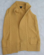 Prive Mustard Yellow Sweater Cardigan Size L Large Cashmere Wool Gold Sleeveless