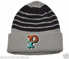 Pink Dolphin OG P Grey Black Stripes Multi P Patch Knit Cap Men's Beanie