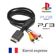 Cable video / cordon peritel RCA pour Sony Playstation PS1 PS2 PS3 slim - NEUF