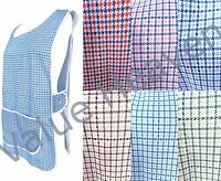 Ladies Tabard Apron Overall Check Blue Turquoise Brown Red Pink Green UK MADE!