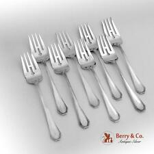 Queen Anne Plain Salad Forks Set 8 Dominick And Haff Sterling Silver Pat 1910