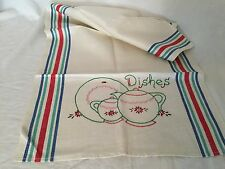 Vintage Embroidered Dish Towel Linen Dishes 19967 Kitchen