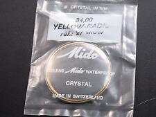 Mido Vintage Watch Crystal 34mm Yellow Radium Tension Ring Ref#21 wider Waterprf