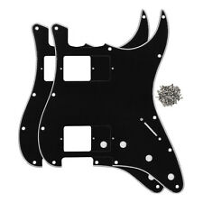 2pcs 3Ply Black ST Guitar Pickguards HH 11 Holes for Fender Strat Guitar