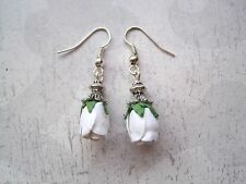 *WHITE ROSEBUD* Drop Earrings Vintage Style CUTE GIFT Rose bud Tibetan Silver