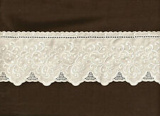Shabby Cottage Charisma  WHITE Embroidered 4 inch wide  100% cotton  lace Trim