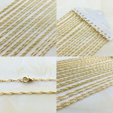 12Pcs Wholesale New Clasp Waves FINE PLATING GOLDEN CHAIN NECKLACE
