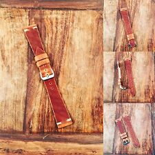 20mm Horween Leather Tapered  Minimal Stitch Watch Strap Vintage Style