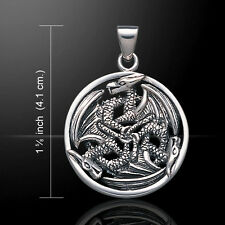 Triple Dragon Amulet .925 Sterling Silver Pendant by Peter Stone
