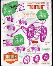 """AUBIGNY-sur-NERE (18) POUSSETTES LAITIERES """"TOUTUB"""" Tract en 1950"""