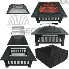 """Square Fire Pit Outdoor Patio Metal Heater Deck Backyard Fireplace w/Cover 32"""""""