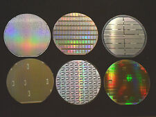 "6"" silicon wafer - Set of six American made wafers by TI, AMD, Maxim, AMI, etc."