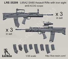 Live Resin 1/35 L85A2 SA80 Assault Rifle with Iron Sight and ACOG Scope (6 sets)