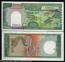 SRI LANKA 1000 RUPEES 1990 PEACOCK UNC DAM LARGE CURRENCY CEYLON NOTE Free Ship