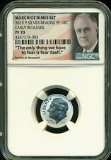 2015 P SILVER ROOSEVELT REVERSE PROOF DIME NGC PF70 ER FROM MARCH OF DIMES SET