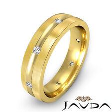 Matt Brushed Ring Diamond Men 18k Yellow Gold Eternity Wedding Solid Band 0.16Ct