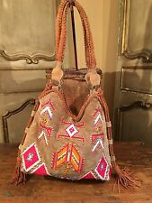 New Free People Anthropologie Navajo Suede Lthr Shoulder Tote Women's Bag.