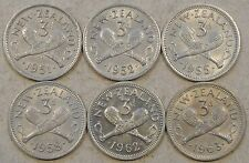 New Zealand 3 Pence's 1951,52,55,58,62,+63 Better Grades as Pictured