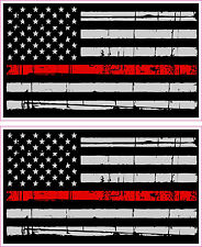 Thin Red Line American Flag Distressed Fire Vinyl Sticker x 2