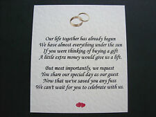 20 Wedding poems asking for money gifts not presents Ref No 3