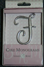"Letter F Silver 2 1/2"" Monogram 25th Anniversary Wedding Cake Topper Pick"