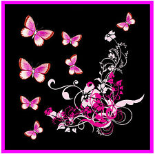 PINK / BLACK BUTTERFLY & FLOWERS CAR / WINDOW STICKER + 1 FREE -  NEW - GIFT