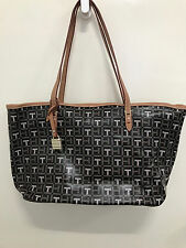 NEW ARRIVAL! TOMMY HILFIGER MONOGRAM LOGO BLACK BROWN SHOPPER TOTE BAG PURSE $88