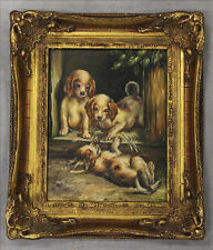 Gorgeous Oil on panel Painting dogs puppies playing signed 1950's