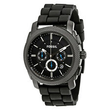 Fossil Machine Chronograph Black Dial Black Silicone Mens Watch FS4487