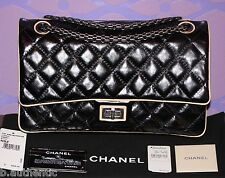 CHANEL Quilted 226 Double Flap Bag REISSUE 2.55 Ruthenium HW Chain Black/Tan LTD