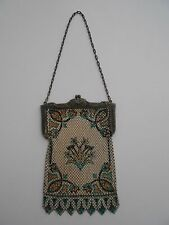 Vintage Mandalian Antique Enameled Mesh 1920's Art Deco Purse Handbag