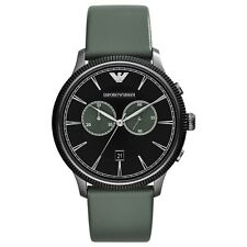 New Emporio Armani Mens Classic Chronograph Black Dial Gray Leather Watch AR1794