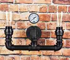 Vintage Steampunk Pipe Wall Light 2 Lamps Design Water Gauge NEW Retro Black