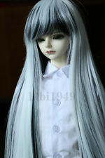 "1/4 7-8""LUTS SD BJD Doll Long Wig Hair Black and White Layered"