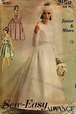 Wedding Dress Bridal Gown with Jacket 3150 Advance Sewing Pattern Sz 12 1960's