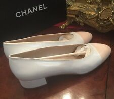 auth CHANEL Two Colors Off White Beige   leather Ballet Flats Shoes 96P Size38
