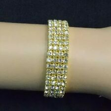 Diamonte Diamante Clear Crystal 4 Row Stretchy Gold Plated Bracelet