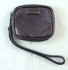 "Burberry ""Metallic Blackberry"" Purple Leather Zip-Around Keychain Wristlet $375"